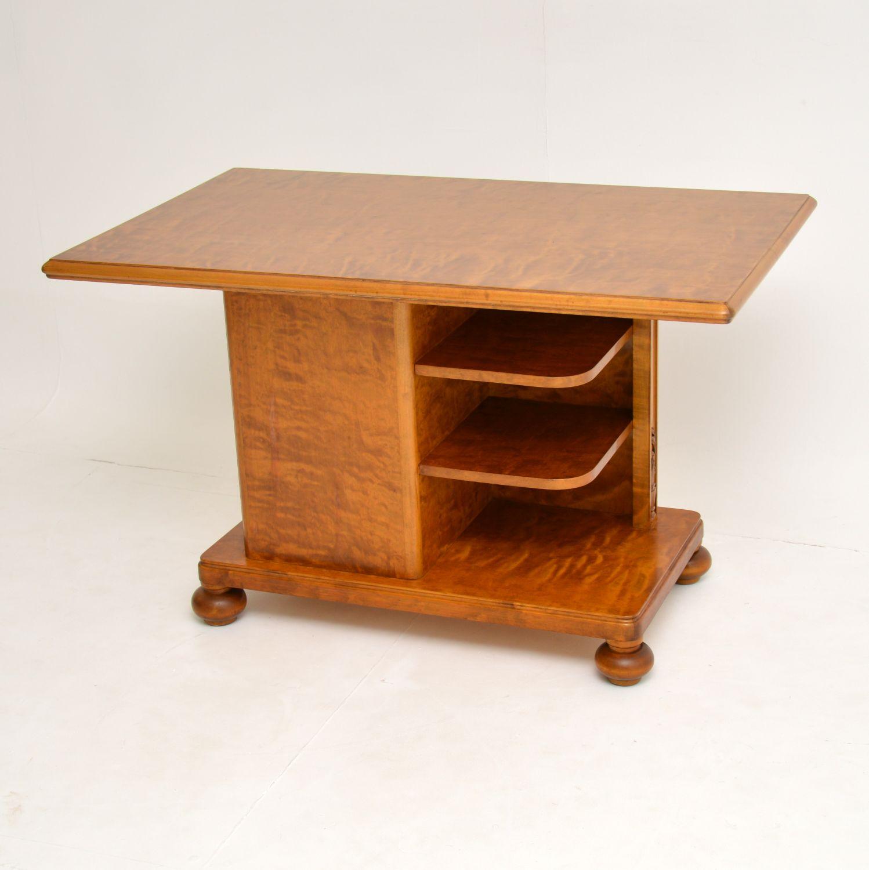 antique swedish satin birch library coffee table