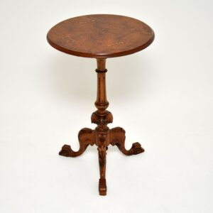 antique victorian burr walnut inlaid side occasional table
