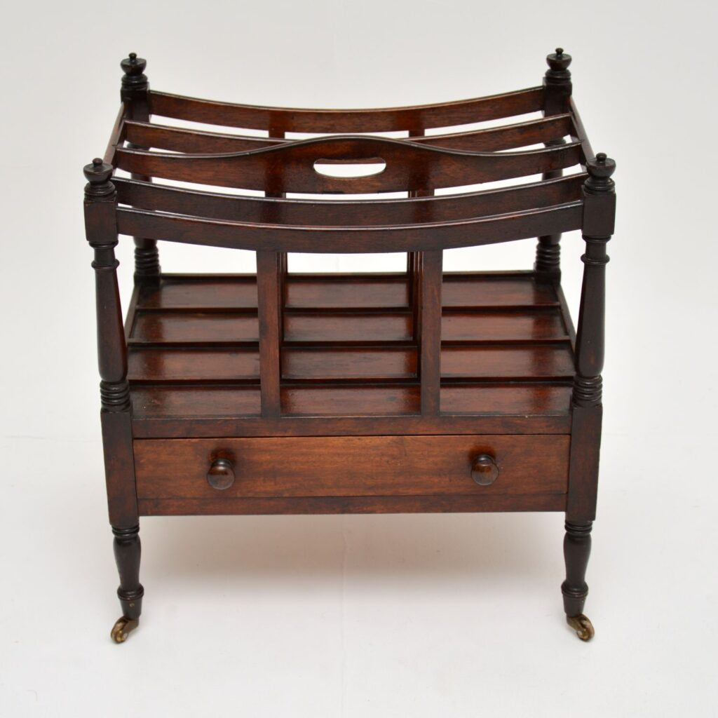 antique victorian regency mahogany canterbury magazine newspaper stand