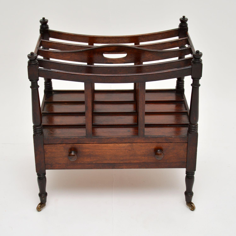 antique victorian regency mahogany canterbury magazine newspaper stand