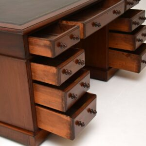antique victorian mahogany and leather partners desk