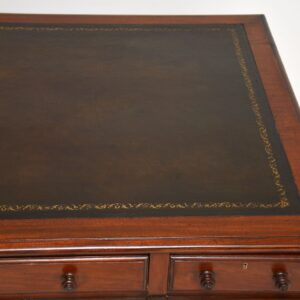 Antique Victorian Mahogany Leather Top Partners Desk