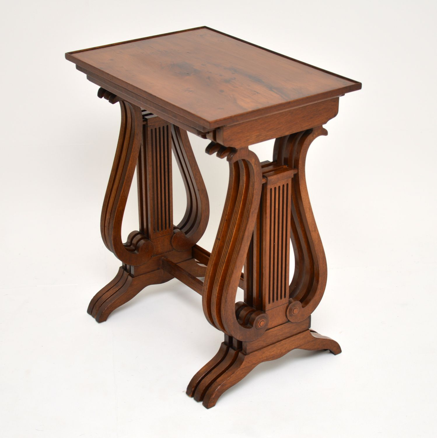 antique yew wood regency nest of tables