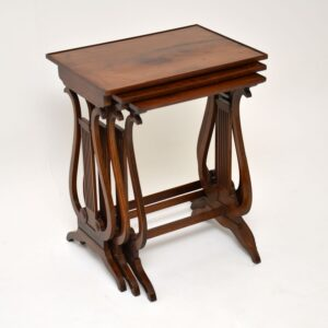 Antique Regency Style Yew Wood Nest of Tables