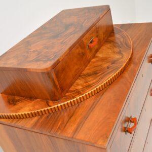 art deco figured walnut tall boy chest of drawers