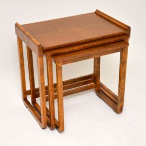antique art deco walnut nest of tables