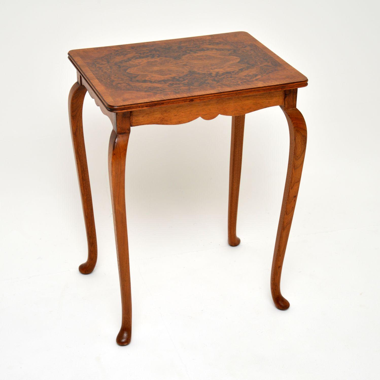 pair of antique edwardian burr walnut side tables