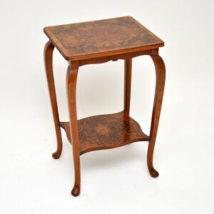 pair of antique edwardian burr walnut side tables