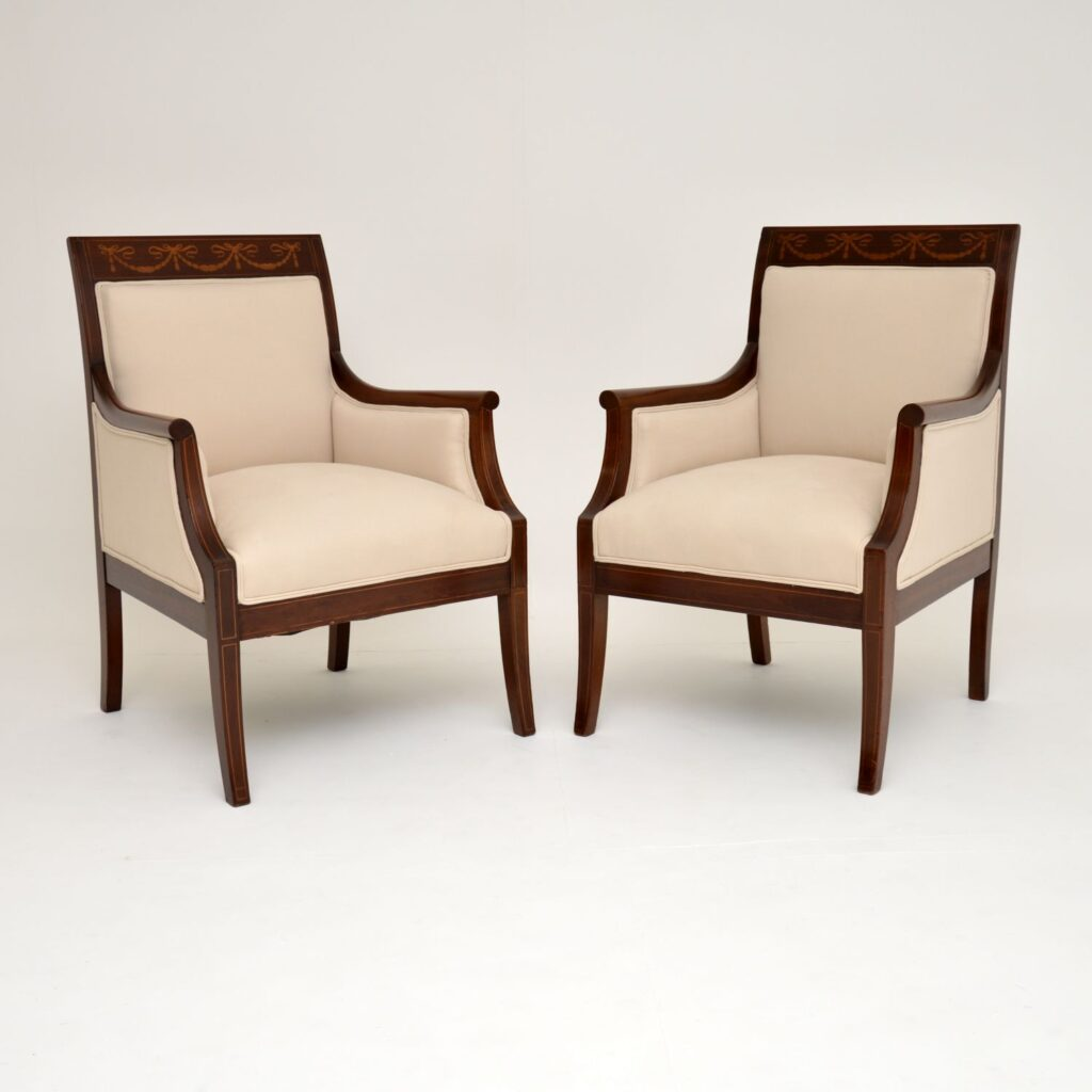 pair antique edwardian inlaid mahogany armchairs