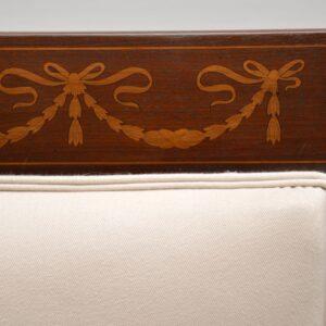 Pair of Antique Swedish Inlaid Mahogany Armchairs