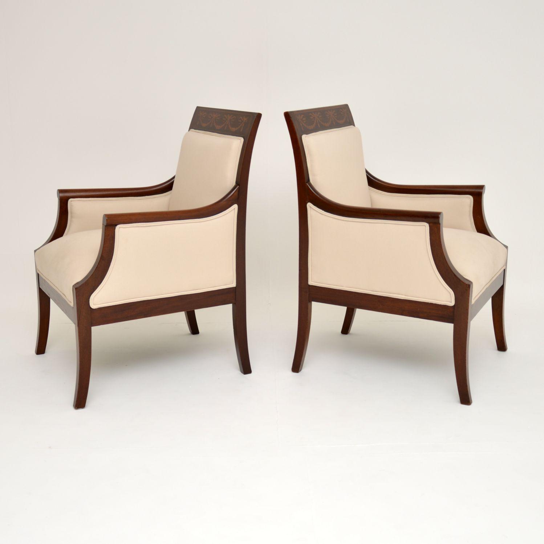 pair antique edwardian inlaid mahogany armchairs