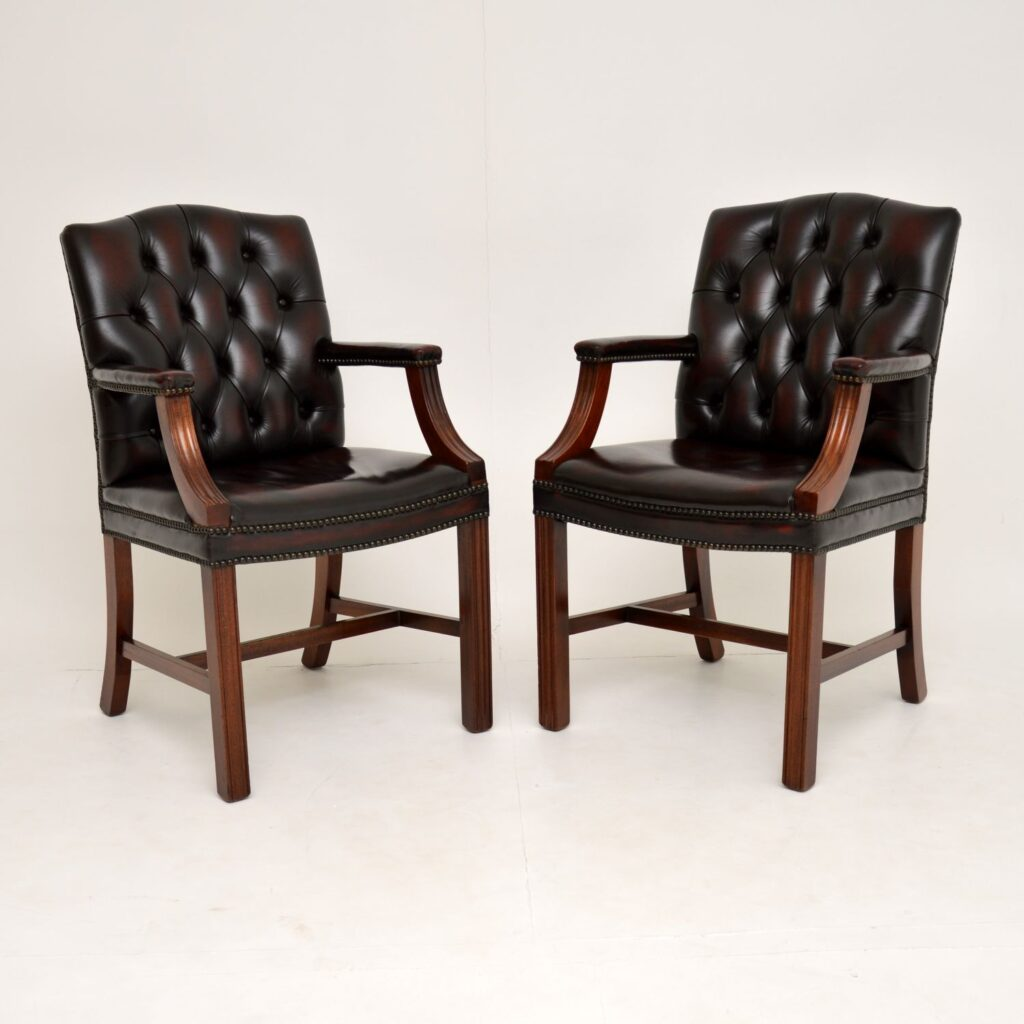 pair of antique leather mahogany gainsborough armchairs