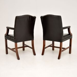 Pair of Antique Georgian Style Leather Gainsborough Armchairs