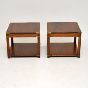 pair of antique mahogany military campaign side lamp bedside tables