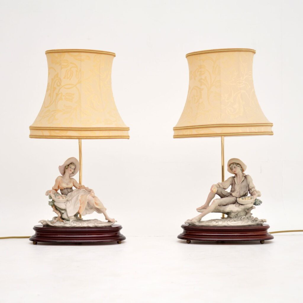 pair antique vintage italian capodimonte porcelain lamps figurines