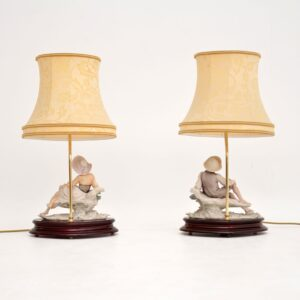 Pair of Vintage Italian Capodimonte Porcelain Table Lamps