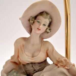 pair antique vintage italian capodimonte porcelain lamps figurines