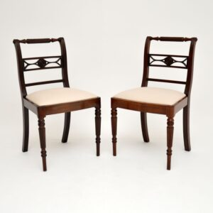 pair of antique regency mahogany rope back dining side chairs