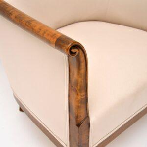 pair of antique swedish satin birch armchairs