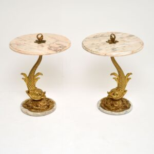 pair of antique vintage brass marble coy carp side tables