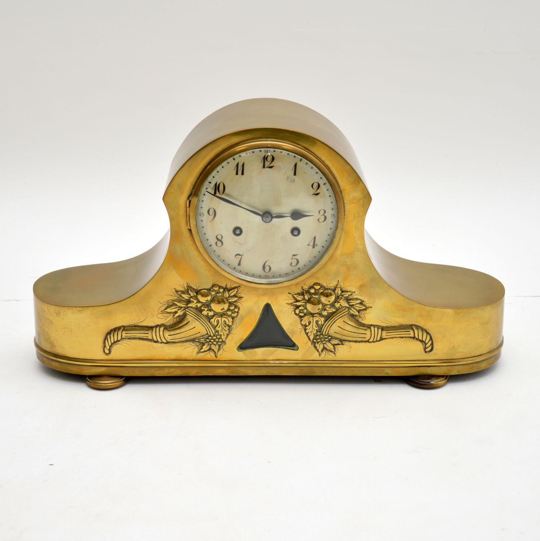 antique brass junghans napoleon hat mantel clock