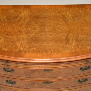 antique georgian burr walnut bachelors chest of drawers
