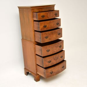 antique georgian burr walnut chest on chest of drawers