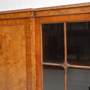 antique queen anne burr walnut bookcase cabinet