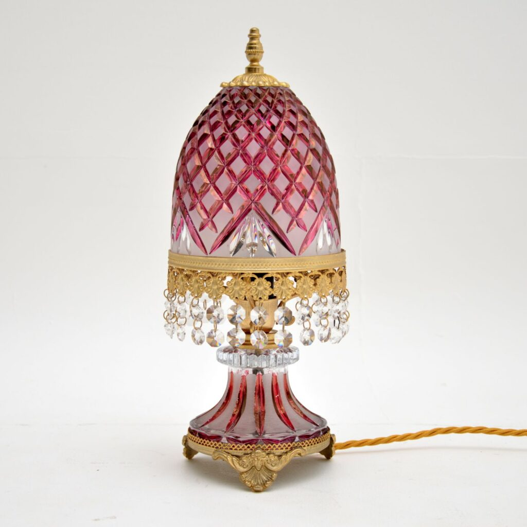 antique bohemian cut crystal glass table desk lamp