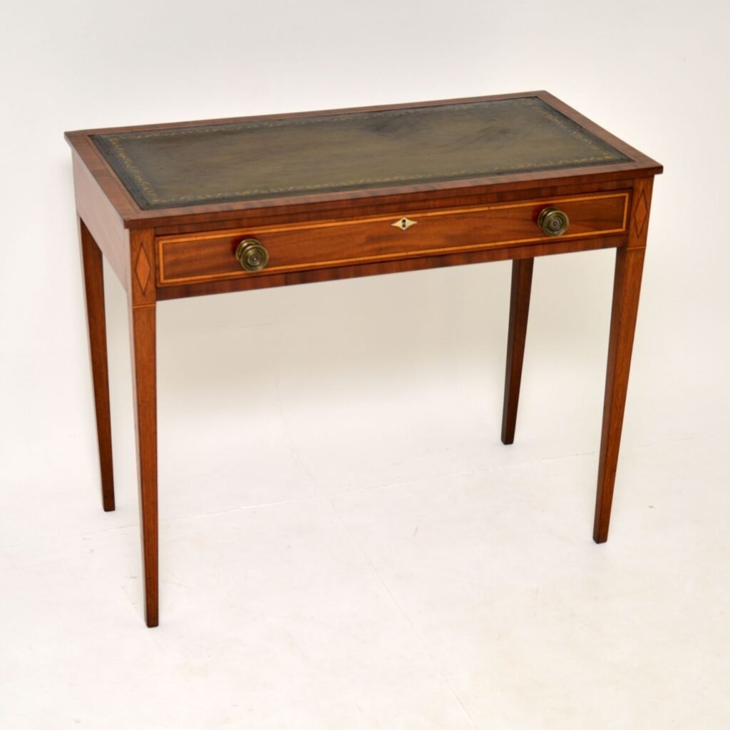 antique edwardian inlaid mahogany writing table desk