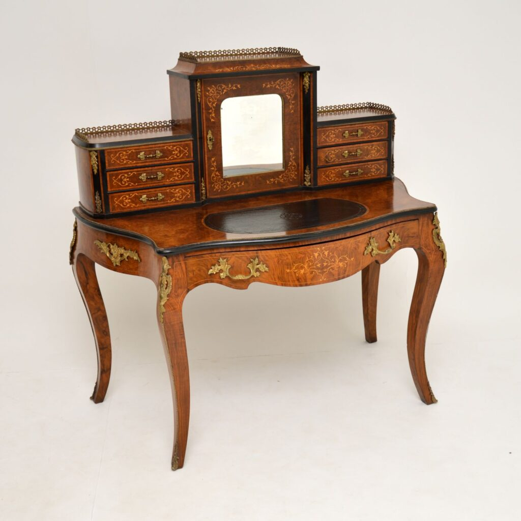 antique french inlaid walnut desk escritoire bonheur du jour