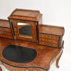 Antique Victorian Inlaid Burr Walnut Bonheur De Jour Desk
