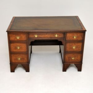antique burr walnut leather top pedestal desk