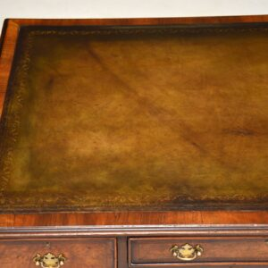 Antique Burr Walnut Leather Top Desk