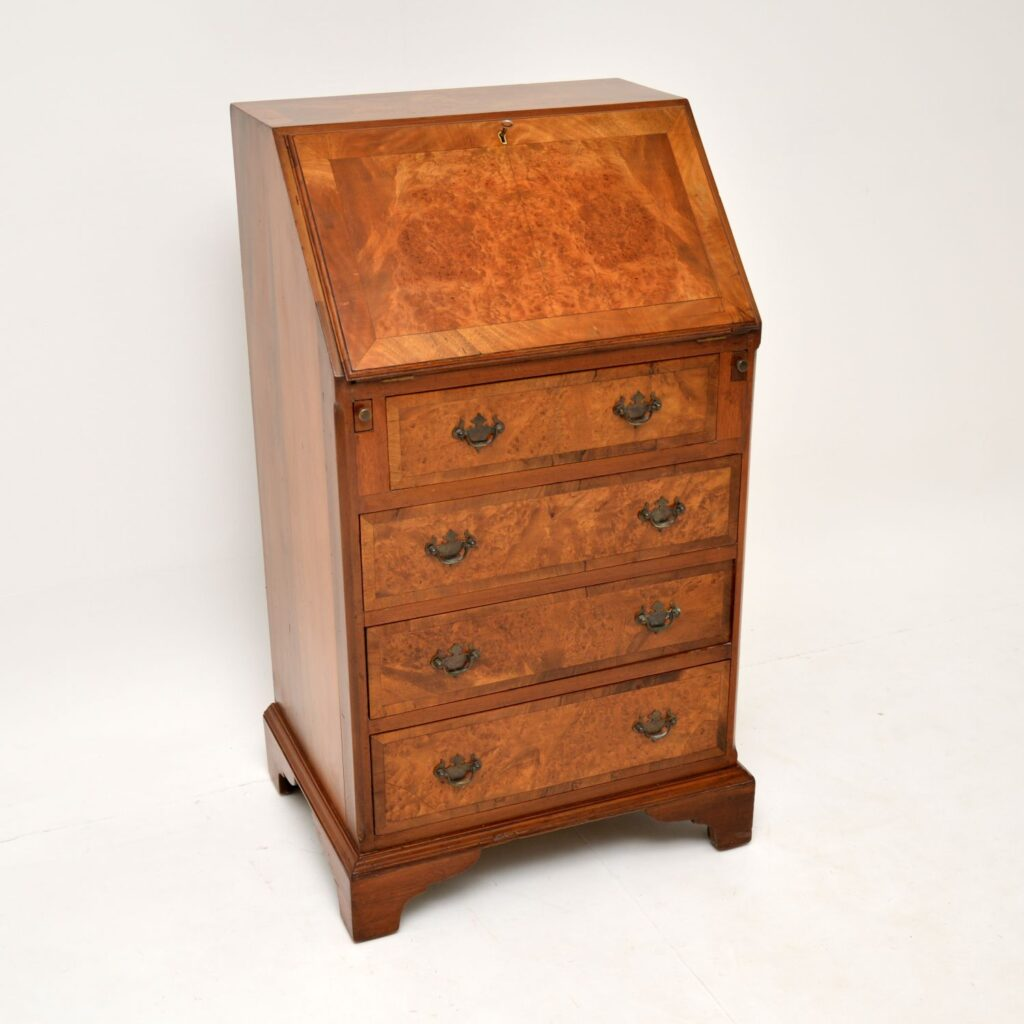 antique georgian burr walnut writing bureau desk
