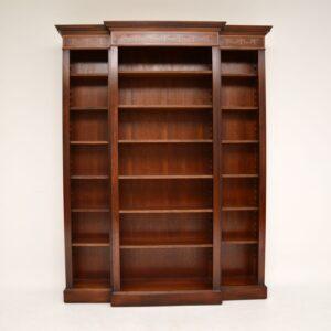 antique georgian edwardian inlaid mahogany breakfront open bookcase