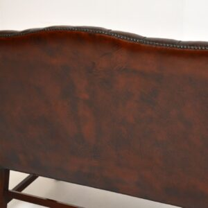 Antique Leather & Mahogany Chippendale Style Sofa