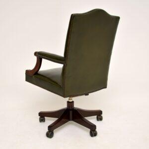 antique mahogany leather swivel desk chair