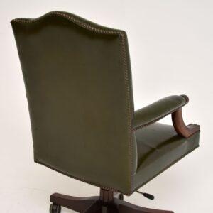 Antique Georgian Style Leather & Mahogany Swivel Desk Chair