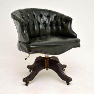 antique leather mahogany swivel captains desk chair