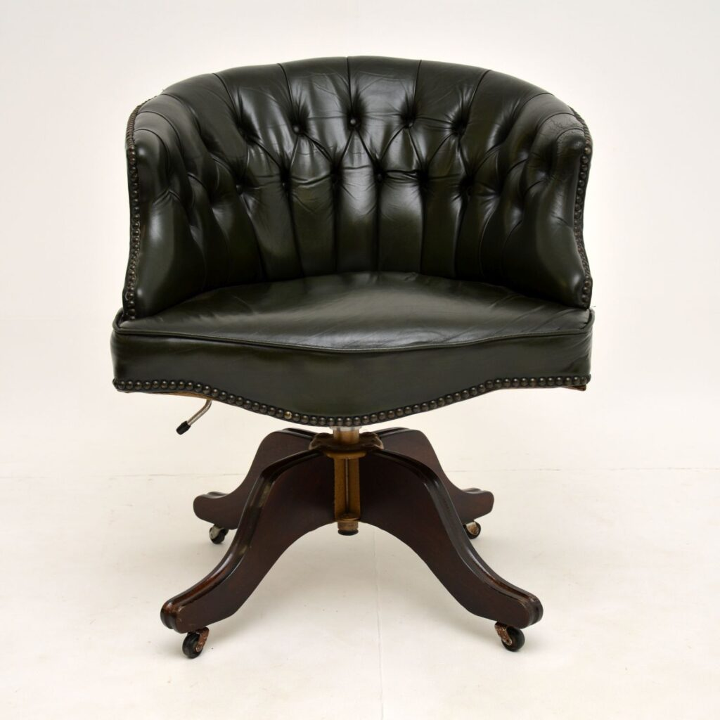 antique leather mahogany swivel captains desk chair