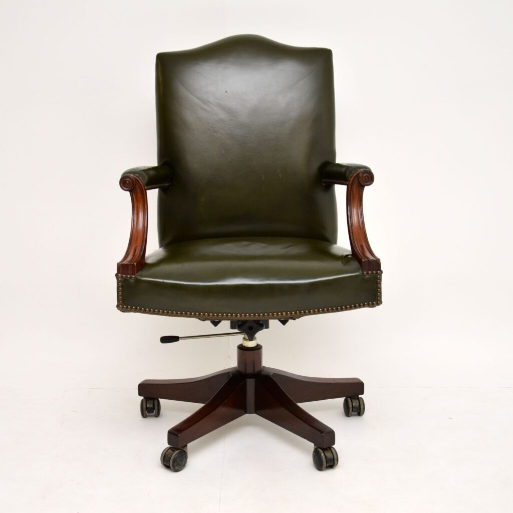 antique mahogany leather swivel desk chair