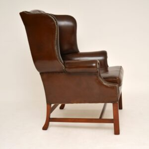 antique georgian style leather mahogany wing back armchair