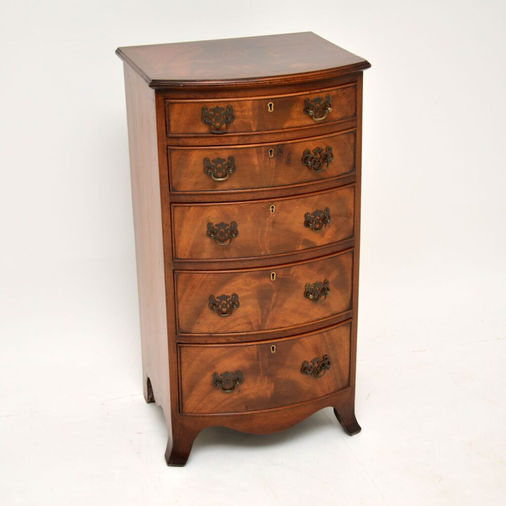 antique georgian edwardian mahogany bow front chest of drawers