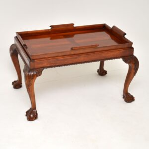 antique mahogany chippendale tray top coffee table
