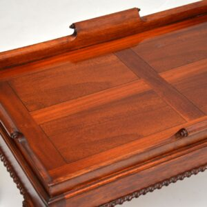 Antique Mahogany Chippendale Style Tray Top Coffee Table