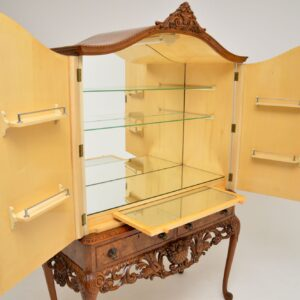 antique queen anne burr walnut cocktail drinks cabinet