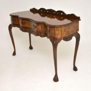 antique burr walnut server side console table