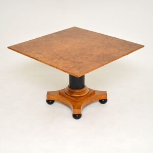 antique swedish burr walnut biedermeier coffee table