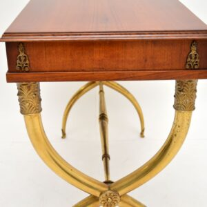 antique swedish french walnut brass desk writing console dressing table